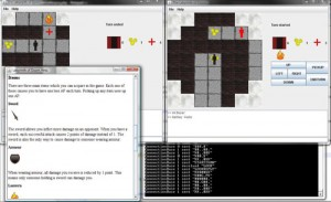 The server controls a game between two players in an XML based map.