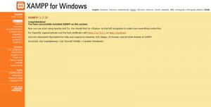 XAMPP main page